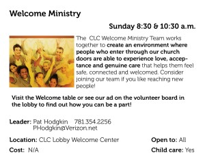 Welcome Ministry Q2 2015